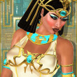 Close up face of beautiful Egyptian princess on abstract gold and turquoise background. — Stock Photo