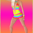Retro disco dancing girl with musical notes as makeup, full size version. — Stock Photo