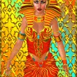 Pharaoh woman, front view, abstract background — Stock Photo