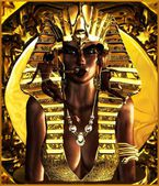 Making up the Egyptian Pharaoh Queen. — Stock Photo