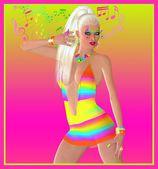 Retro disco dancing girl with musical notes as makeup. — Stock Photo