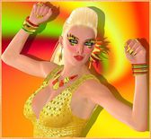 Party flier dancing blonde girl on abstract orange, yellow,red and green swirl background. The disco scene is heating up as she moves to the beats of her favorite DJ at the club. — Stock Photo