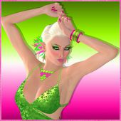 Disco dancing blonde girl on abstract green and pink background. — Stock Photo