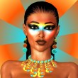An abstract background enhances this close up face of a beautiful woman wearing chic fashion makeup. Her necklace matches the turquoise, yellow and orange background as well as the makeup. — Stock Photo