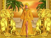 Egyptian royal woman standing with statues, while sun sets over the sea. — Stock Photo