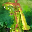 Green snake goddess. — Stock Photo