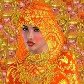 A beautiful face stands out from under an orange hood and against an orange textured background. Adorned in silk, this mystical woman's origins are unknown. — Stock Photo