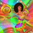Disco dancing girl on abstract background — Stock Photo