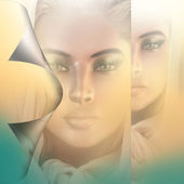 Spiritual woman's face with peel back effect on a gradient background. — Stock Photo