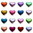 Stock Photo: Valentine's day hearts isolated on white. 16 Colorful 3D hearts on one page in .png format.