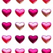 Valentine's day hearts isolated on white. 20 pink and red shades of 3d hearts on one page. Isolated on white for easy cut out or background fill. — Stock Photo