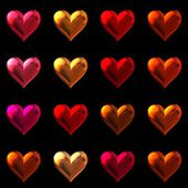 Valentine's day hearts isolated on black. 16 Colorful 3D hearts on one page in .png format. — Stock Photo