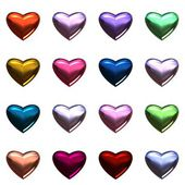 Valentine's day hearts isolated on white. 16 Colorful 3D hearts on one page in .png format. — Stock Photo