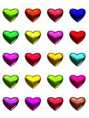 Colorful hearts, isolated on white for love themed content. — Stock Photo