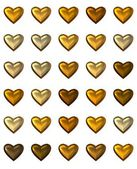 Gold hearts in various shades, isolated on white. — Stock Photo