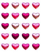 Valentine's day hearts isolated on white. 20 pink and red shades of 3d hearts on one page. Isolated on white for easy cut out or background fill. — Stockfoto