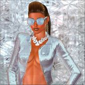 Diamond Girl.  An abstract silver background sets the stage for this sexy fashion scene. — Stock Photo