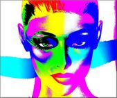 Colorful pop art image of a woman's face on a white background.  An abstract, punk style image. — Stock Photo