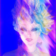 A colorful abstract, artistic render of Helen of Troy with a feather hairstyle. — Stock Photo #47180221