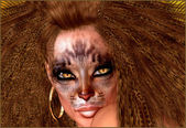 Cat Girl.  A woman embraces her inner feline as she is depicted wearing funky lion makeup, a wild hairstyle and cat eyes that mesmerize. — Stock Photo