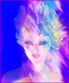 A colorful abstract, artistic render of Helen of Troy with a feather hairstyle. — Stock Photo