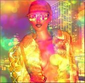 Bokeh,abstract,disco girl — Stock Photo