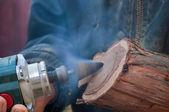 Log processada pelo moedor reta — Foto Stock