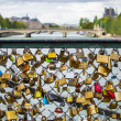 Stock Photo: Padlocks on Ponts des arts, Paris