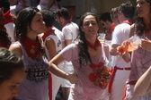 Girls on the street in San Fermin Pamplona — Stock Photo