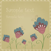 Postcard blue flowers on a beige background — Vector de stock