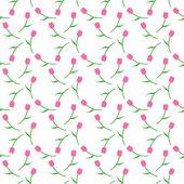 白い背景の上のパターンのピンクのチューリップ — ストックベクタ