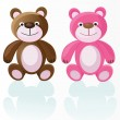 Stock Vector: Pink and brown bears