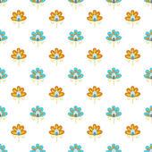 Patroon blauwe en oranje bloemen op een witte achtergrond — Stockvector