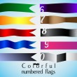 Stock Vector: Colorful numbered flag set