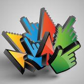 Cursores coloridos — Vector de stock
