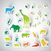 Zoo sticker animals — Vector de stock