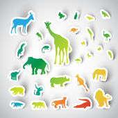 Zoo sticker animals — Vetorial Stock