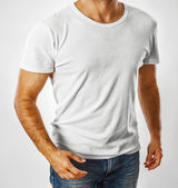 White t-shirt on a young man template — Stock Photo