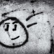 Graffiti wall with smile face — Stock Photo