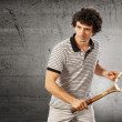 Tennis player with vintage racket — Stock Photo