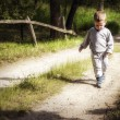 Little boy walking on a country road — Stock Photo #46898933