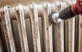 Sanding radiator — Stock Photo