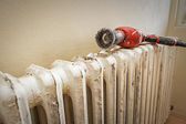 Sanding radiator — Stock Photo