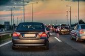 Traffic jam on a freeway — Stock Photo