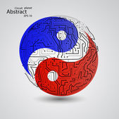 Planet yin yang — Stock Vector