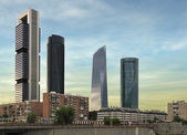 Four modern skyscrapers (Cuatro Torres) Madrid, Spain — Stock Photo
