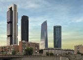 Four modern skyscrapers (Cuatro Torres) Madrid, Spain — Foto de Stock