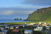 View of Vic and Reynisdrangar, Iceland — Stock Photo