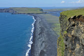 Coast and black volcanic sand, Iceland — Stock Photo