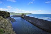 Black volcanic sand beach at Dyrholaey, Iceland — Stock Photo